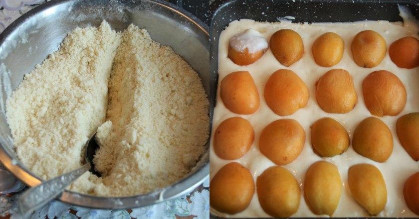 Насыпной пирог с абрикосами и творогом: вкусняшка лучше некуда! И с тестом возиться не нужно.