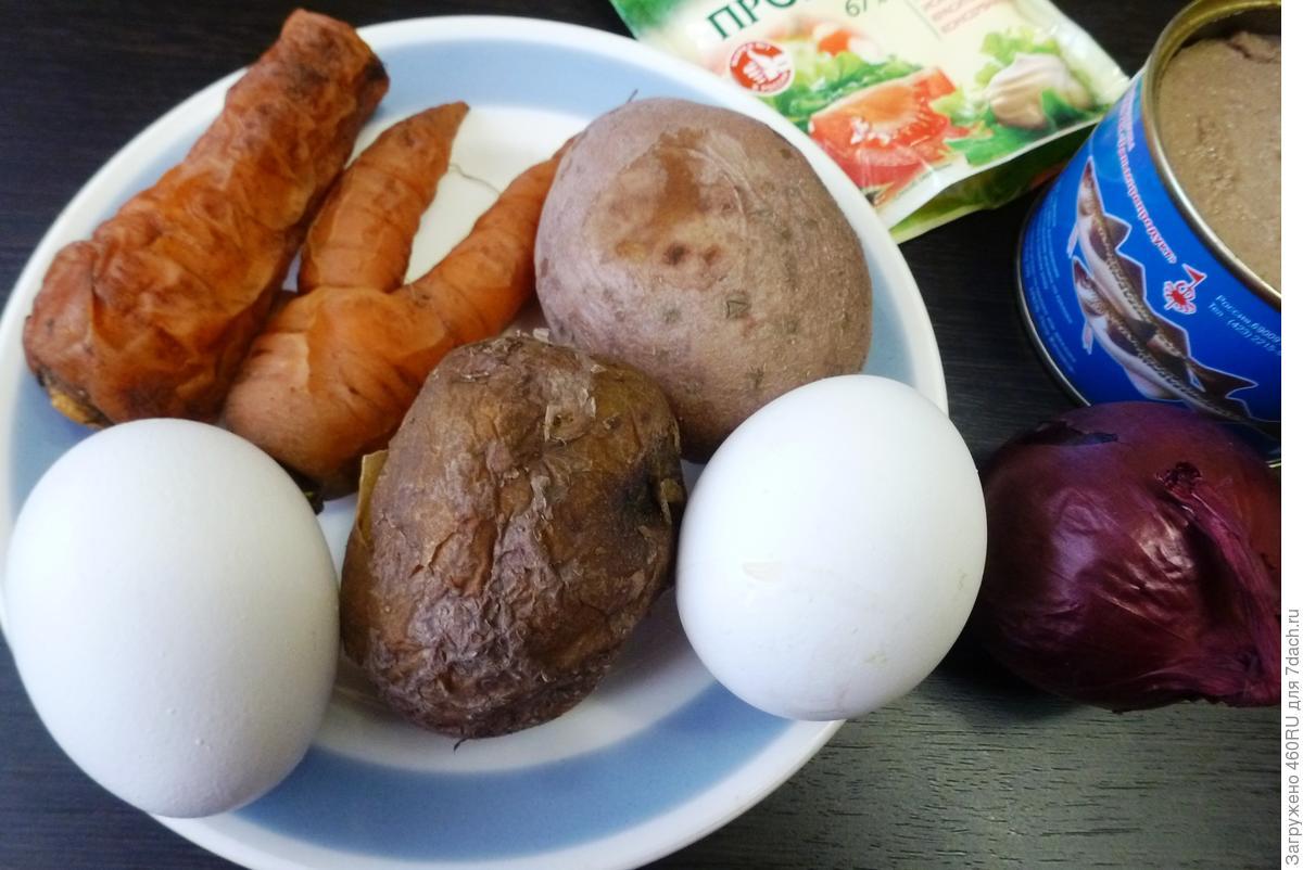 Салат «Мимоза» с печенью минтая