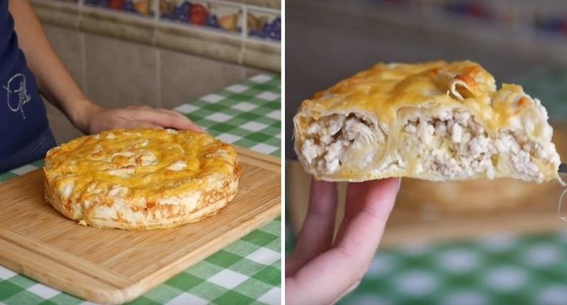 Рецепт пирога без теста с мясом
