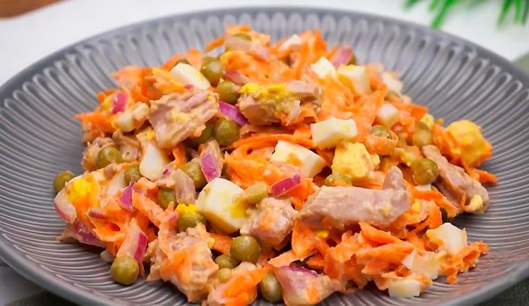 Диетический ужин: Тунец с зеленым горошком и морковью
